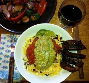 Mexican Bowl with Grilled Portobello, Zucchini, and Peppers